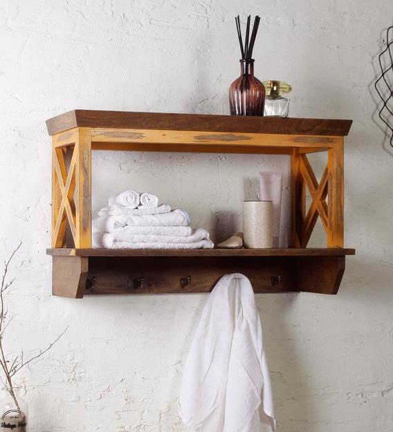 Mango Wood Bathroom Shelf In Brown, Wooden Bathroom Shelf