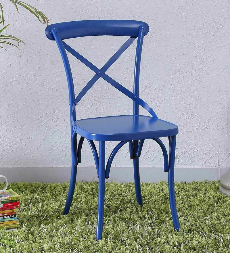 Fabian Metal Chair in Blue Color by Bohemiana