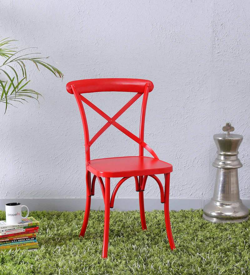 Fabian Metal Chair in Red Color by Bohemiana