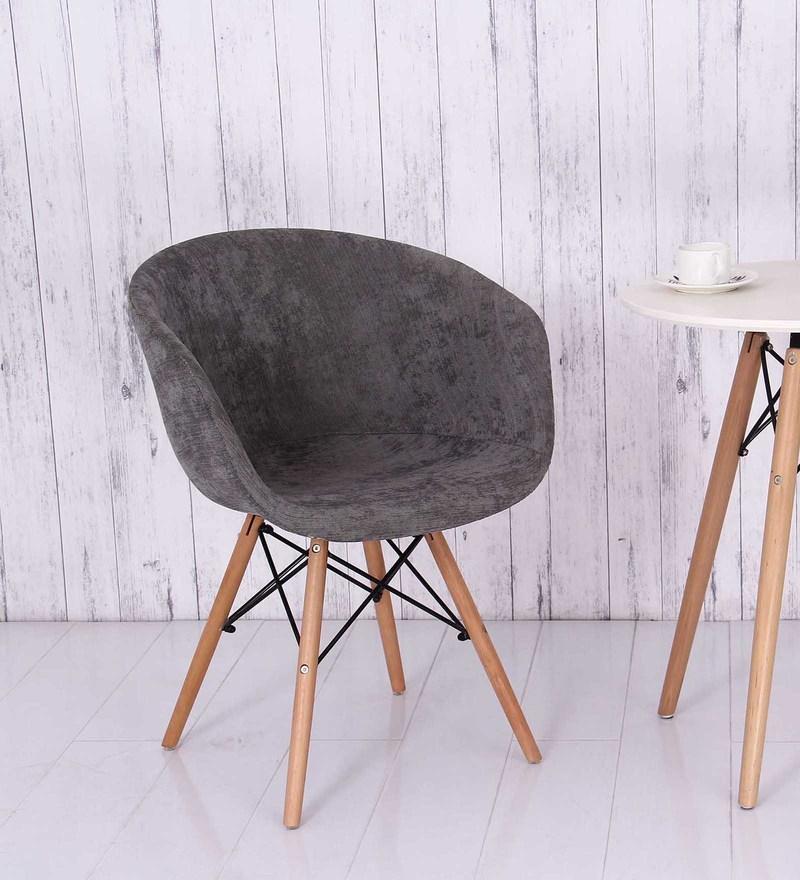 Cory Fabric Chair in Dark Grey Colour by Bohemiana