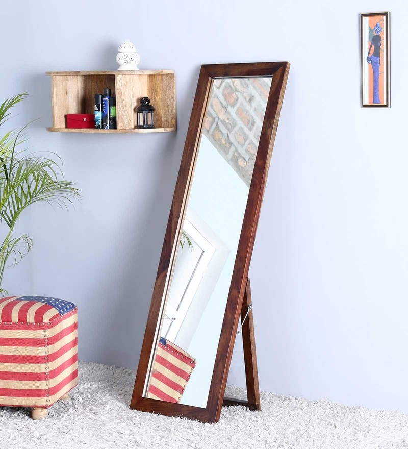 Teak Sheesham Wood Full Length Floor Mirror with Stand by Satyam International