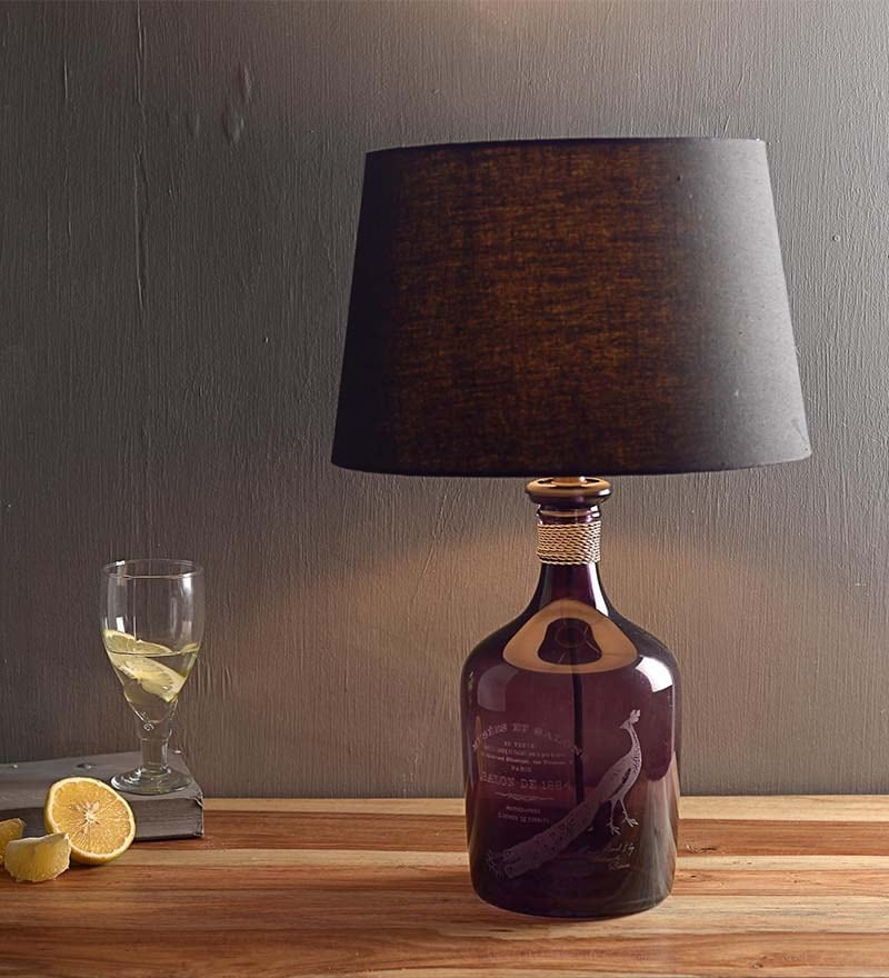 Black Cotton Table Lamp by Fabuliv