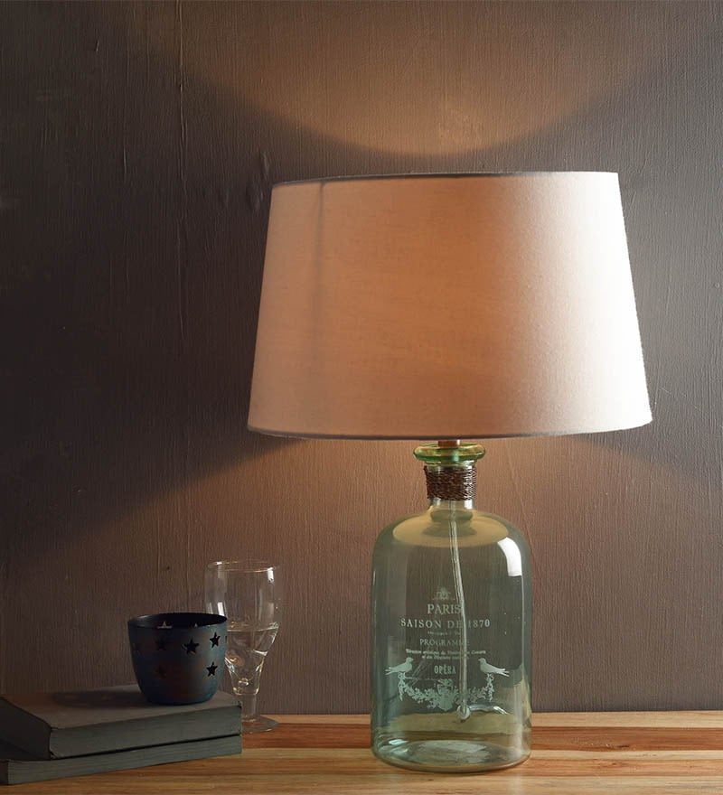 White Cotton Table Lamp by Fabuliv