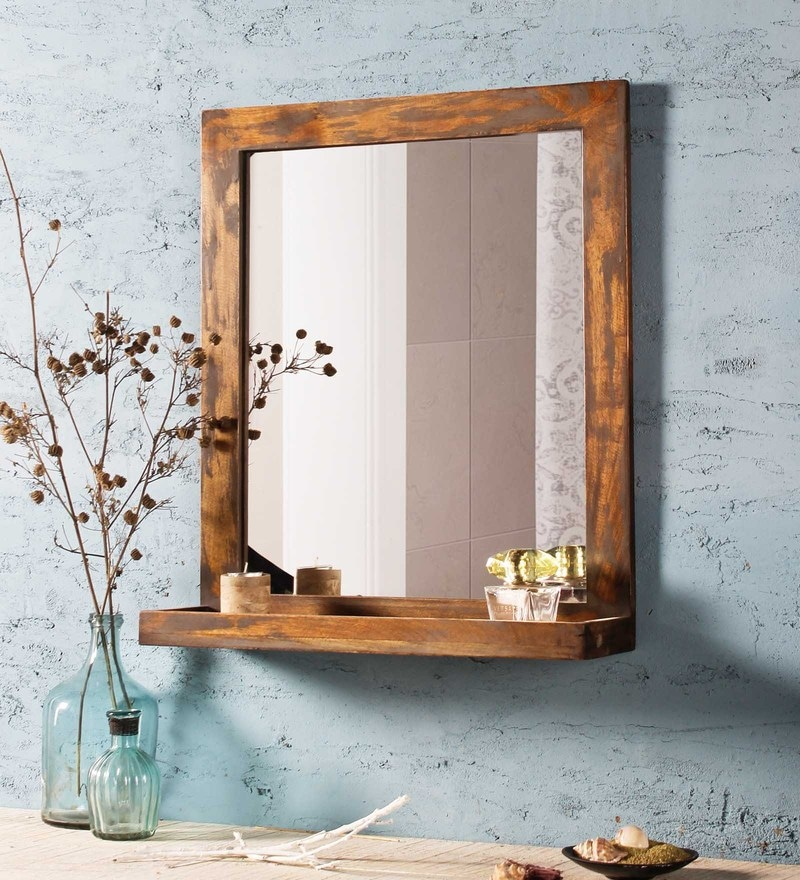 Buy Mango Wood Rectangle Wall Mirror In Brown Colour By