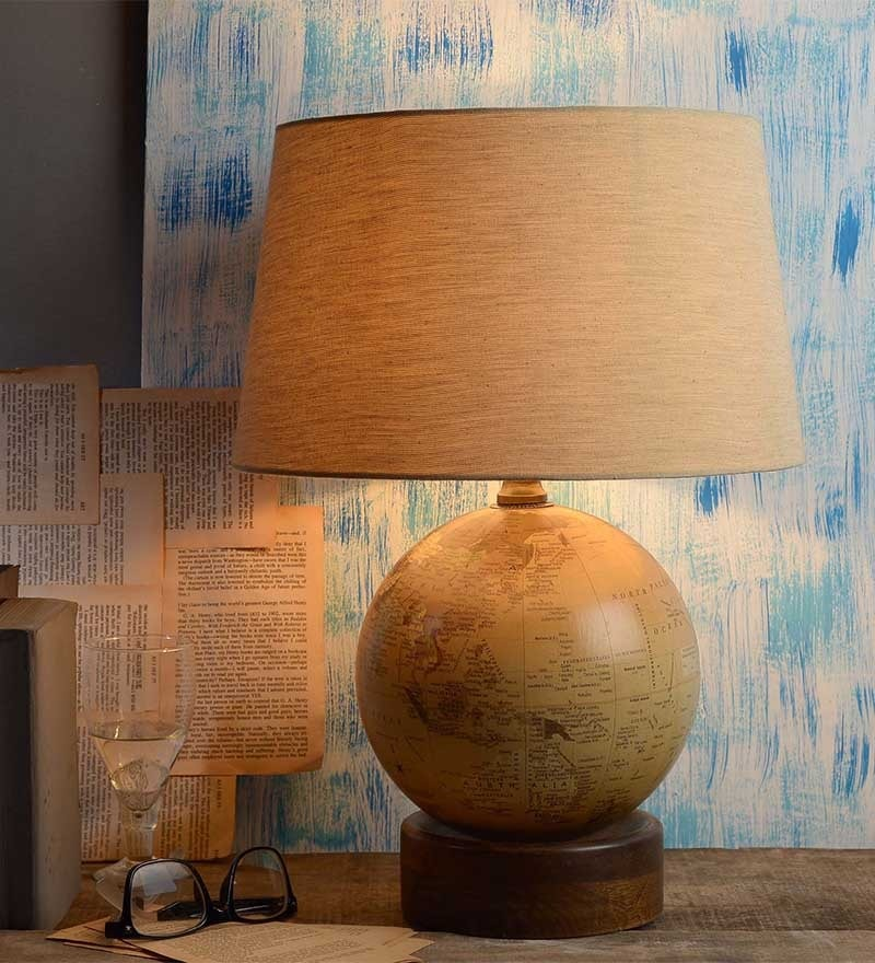 Globe Beige Cotton Table Lamp by Fabuliv