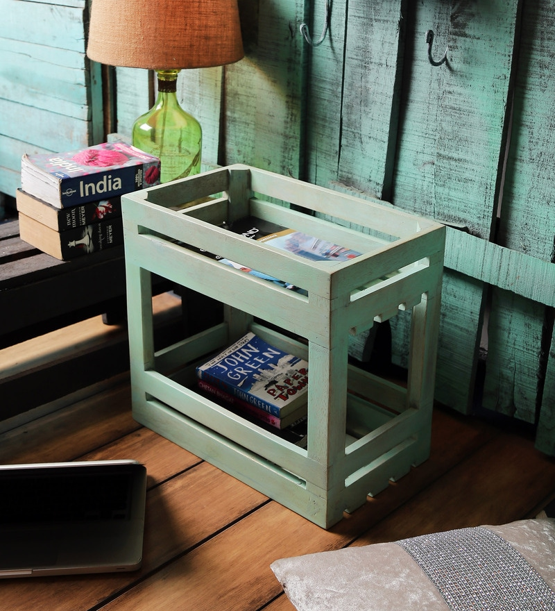 Fabuliv Mango Wood Turquoise 2 Tier  Crate