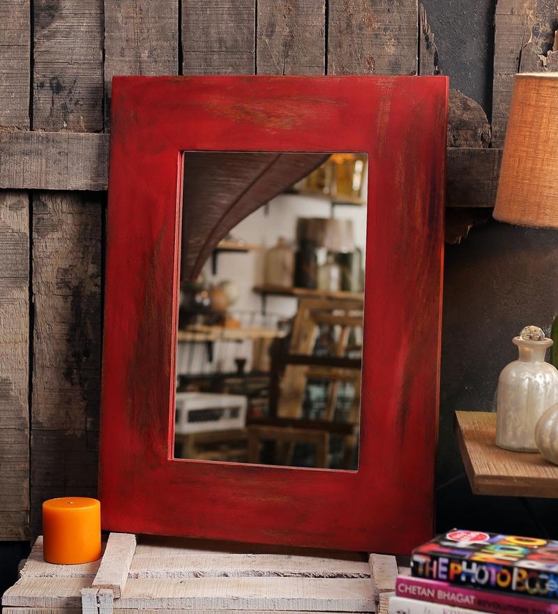 Red Mango Wood Nebulus Wall Mounted Mirror by Fabuliv