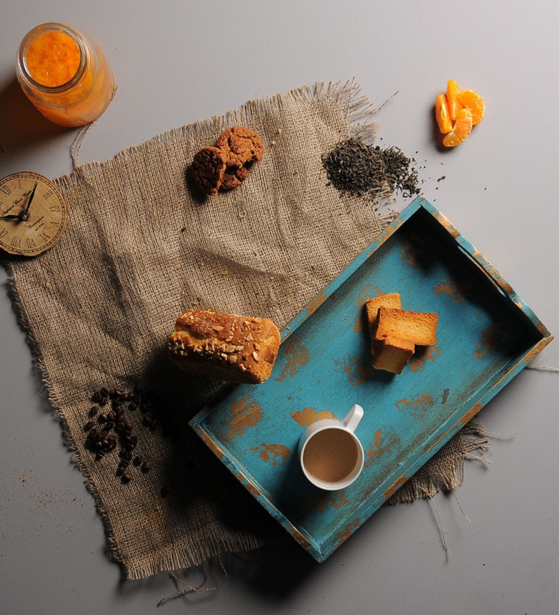 Fabuliv Teal Wood Serving Tray