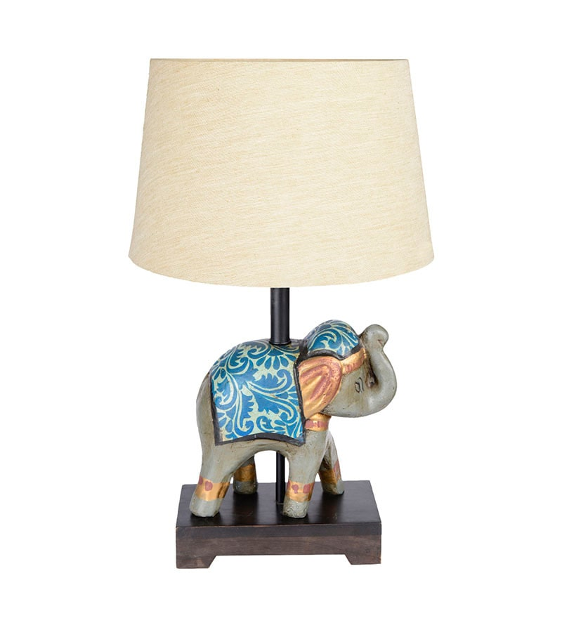 Beige Cotton Table Lamp by Fabuliv
