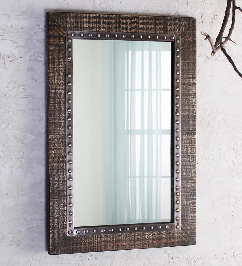 Fabuliv Vintage Black Mango Wood 32 x 1 x 24 Inch Handcrafted Bathroom Mirror