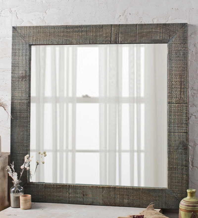 Fabuliv Vintage Green Mango Wood 32 x 1 x 32 Inch Handcrafted Bathroom Mirror