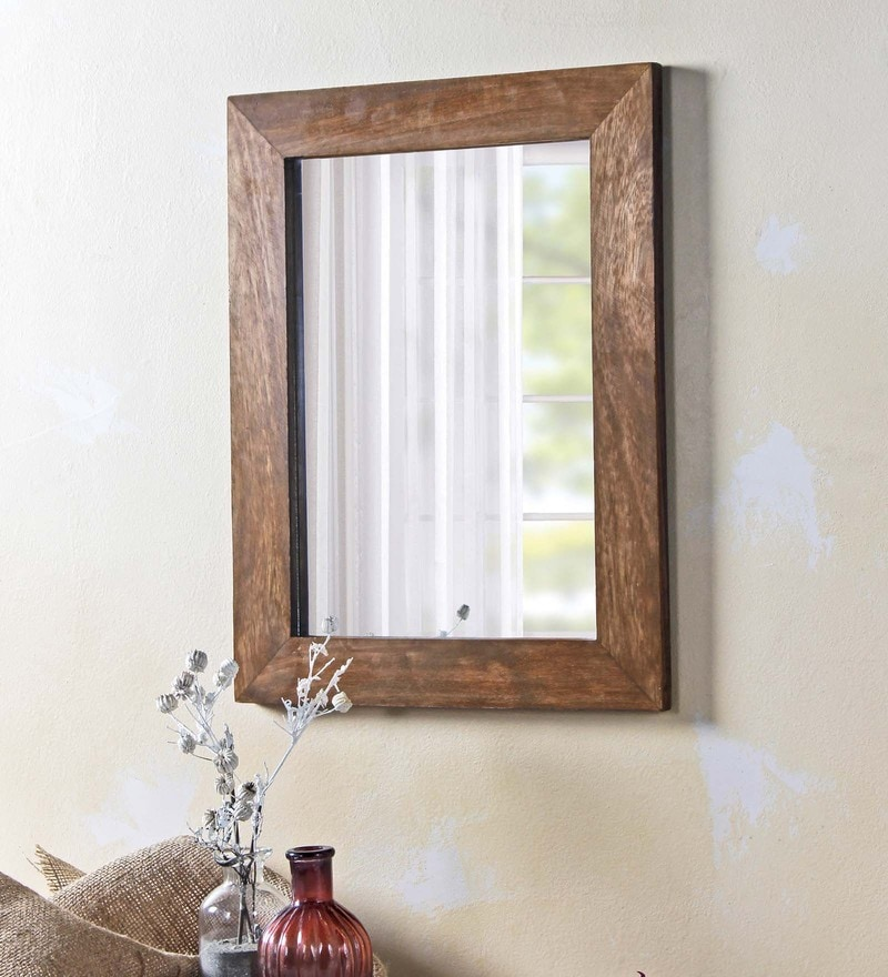 Fabuliv Walnut Mango Wood 14 x 0.5 x 18 Inch Bathroom Mirror