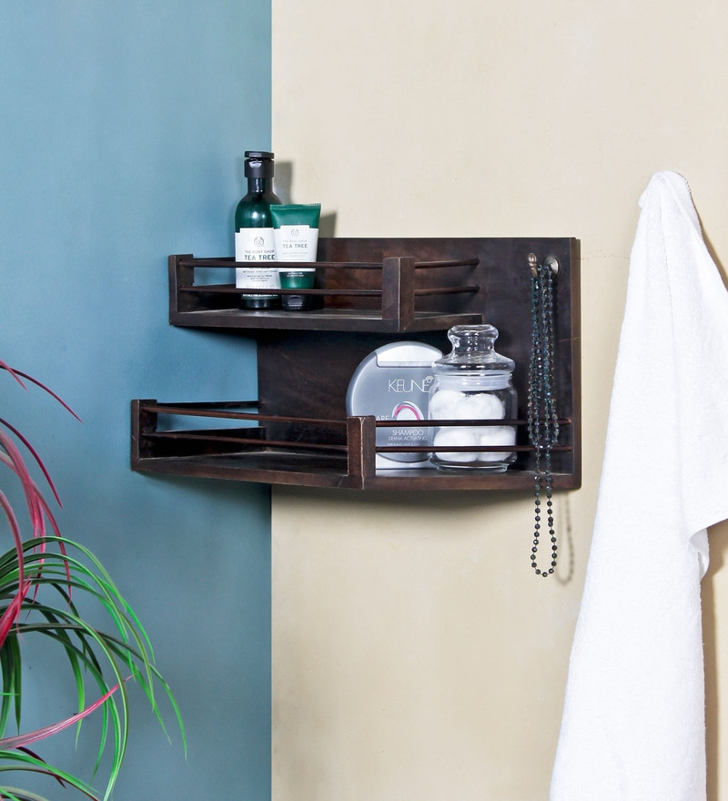 Fabuliv Walnut Mango Wood 17.5 x 8 x 9.5 Inch Bathroom Shelf