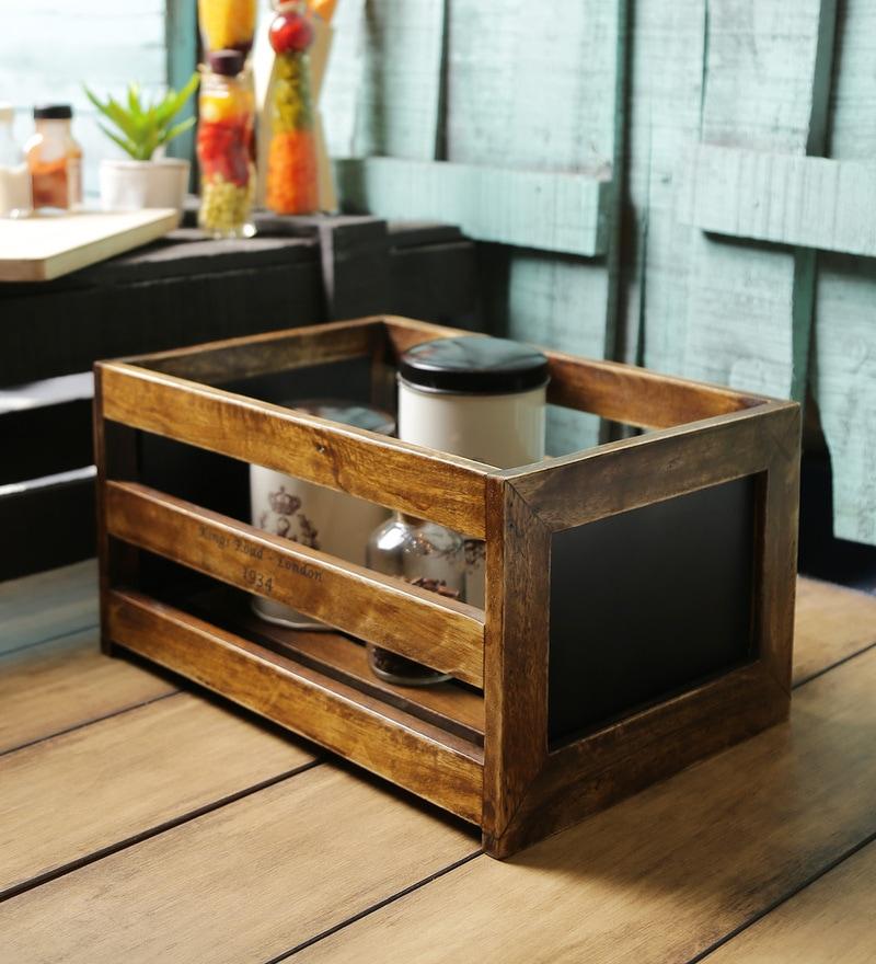 Fabuliv Walnut Mango Wood Basket Large with Chalk Board