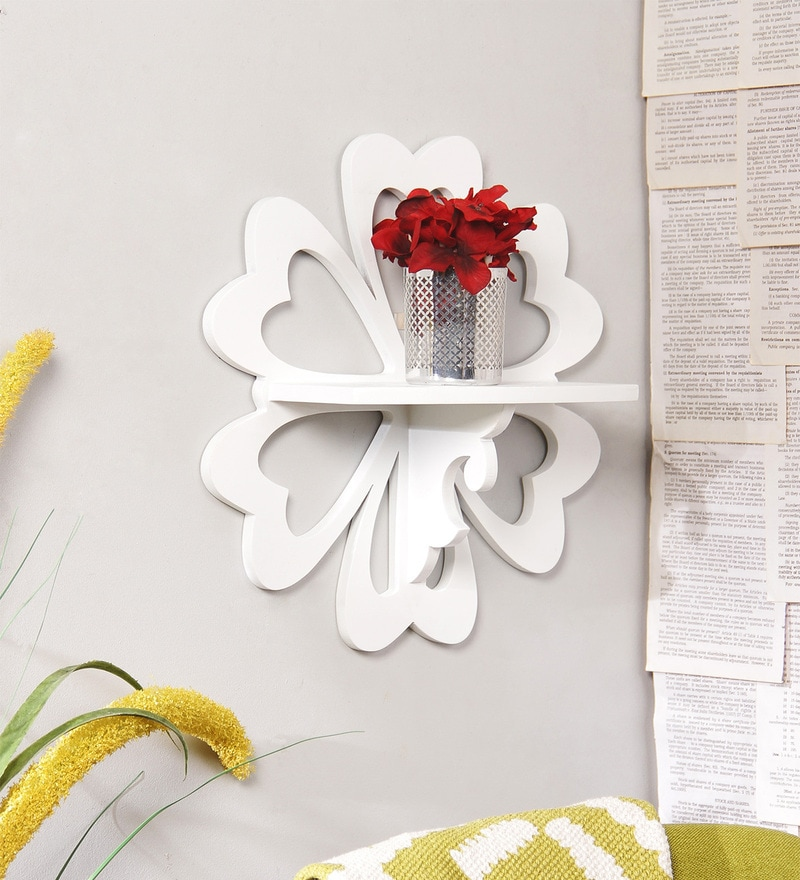 White Engineered Wood Carved Flower Shelf by Home Sparkle