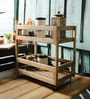 Fabuliv Brown & Black Metal & Mango Wood 2 Tier Hand Woven Grocery Stand
