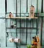 Fabuliv Brown & Black Metal & Mango Wood Kitchen Wall Shelf with Utensil Hangers