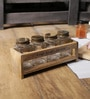 Fabuliv Brown Mango Wood & Glass Spice Rack with 4 Spice Jars