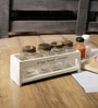 Fabuliv Chick Distress White Mango Wood & Glass Spice Rack with 4 Spice Jars