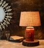 Cocoon Beige Cotton Table Lamp by Fabuliv