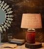 Vintage Beige Cotton Table Lamp by Fabuliv
