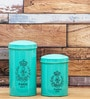 Fabuliv Fleur Turquoise Wood and Metal 1200 ML Cylindrical Canister