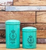Fabuliv Fleur Turquoise Wood and Metal 1500ML Cylindrical Canister