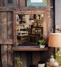 Grey Mango Wood Wall Mounted Mirror with Shelf by Fabuliv