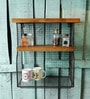 Fabuliv Industrial Bear Brown & Black Metal & Mango Wood Wall Organiser with 3 Slabs