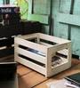 Fabuliv Mango Wood & Iron Distress White Crate Basket - Set of 4
