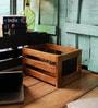 Fabuliv Mango Wood Black & Brown Basket with Chalk Board