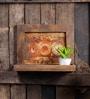 Rusty Grey Mango Wood Framed Wall Shelf with 2 Slabs by Fabuliv