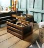 Fabuliv Walnut Mango Wood Basket Set with Chalk Board - Set of 2