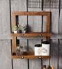 Fabuliv Walnut Mango Wood Double Framed Kitchen Shelf with 2 Slabs & Card Holders