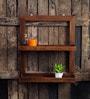 Walnut Mango Wood Framed Wall Shelf with 2 Slabs by Fabuliv