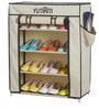 Fancy 4 Layer Portable Multipurpose Waterproof Fabric Shoe Rack in Cream Colour by YUTIRITI