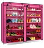 Pindia Fancy Border Portable Pink & Black 6-Layer Multi Utility Shoe Rack