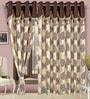 Cortina Precious Brown Polyester Eyelet Window Curtain- Set of 2