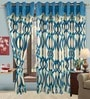 Fine Blue Polyester Eyelet Window Curtain- Set of 2 by Cortina