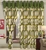 Moss Green Polyester Eyelet Window Curtain- Set of 2 by Cortina