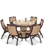 Feng Round Marble Top Six Seater Dining Set in Brown & Beige Colour