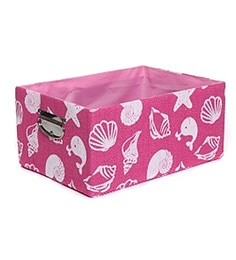 Fennel Large Cotton & Polyester Pink Printed Storage Basket With Handle