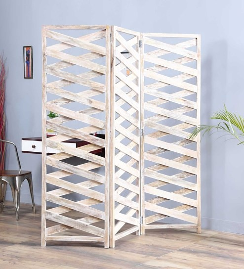 Talaria Solid Wood 3 Panel Free-Standing Room Divider in White Finish by  Satyam International