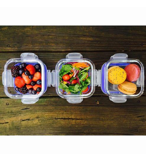 Femora Borosilicate Square Food Storage Container - Set Of 3