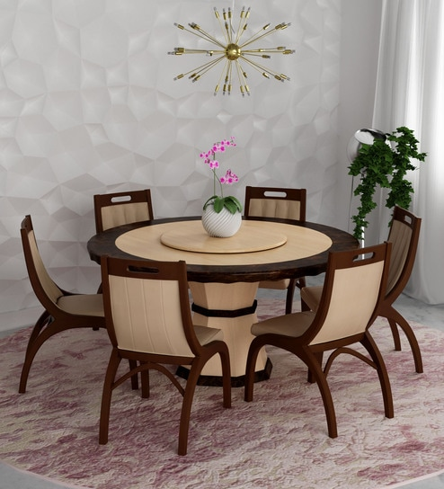 Feng Round Marble Top Six Seater Dining Set In Brown U0026 Beige Colour By  Durian