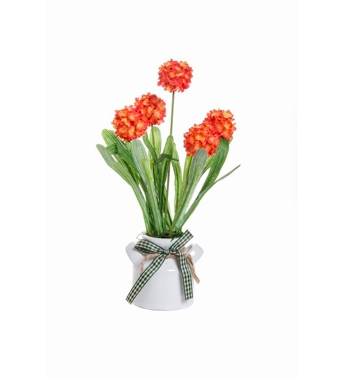 Fennel Flower Vase With Real Touch Red Artificial Flowers By Fennel
