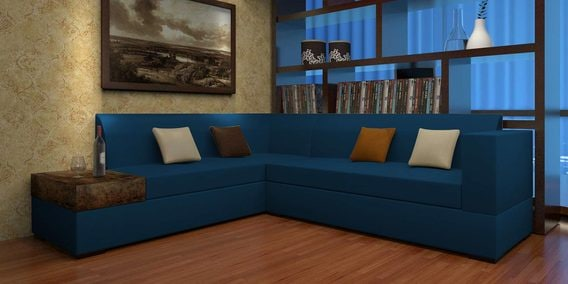 Felix L Shape Rhs Sofa With Six Cushions In Blue Colour By Home City
