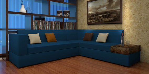 Felix Lhs Sofa With Six Cushions In Blue Colour By Home City