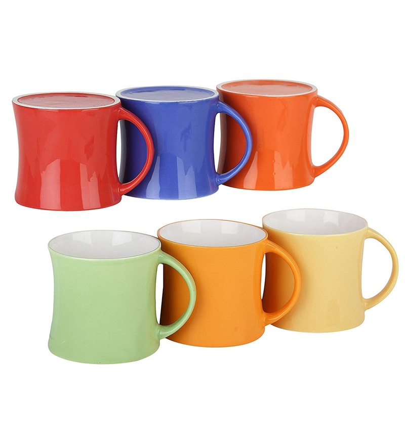 Femora Bone China Classical Multicolor Microwave Safe Tea Cup Coffee Mug  for Office & Home - 150Ml - (Set of 6)
