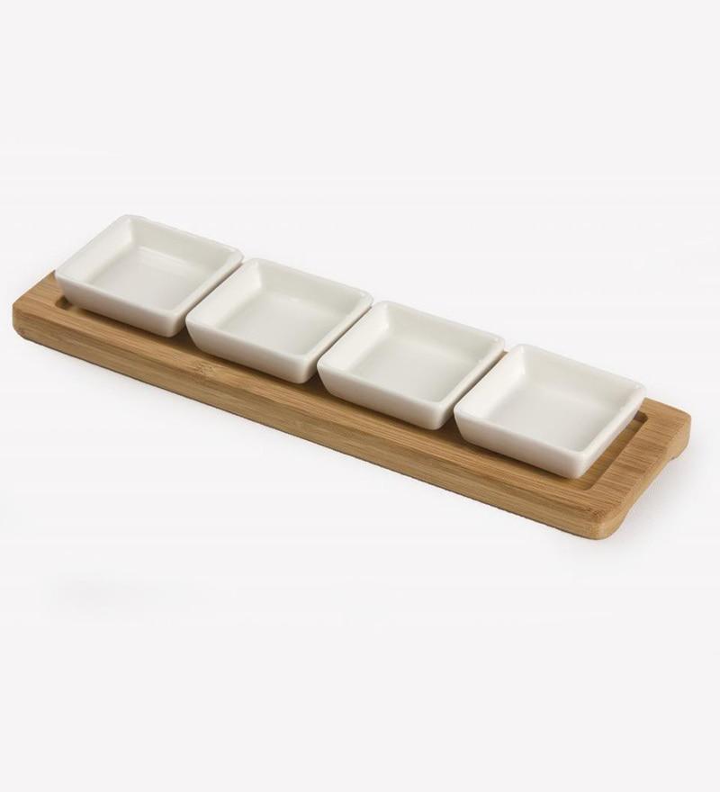 Fennel Square Brown Porcelain & Wood Bowl Set - Set of 5